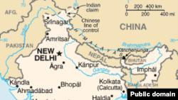 Индия менен Кытайдын чек ара аймагынын картасы.