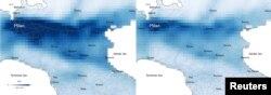 Милан шаарындагы азот диоксидинин деңгээли (солдо - 2019-жыл, оңдо - 2020-жыл). Европадагы коомдук саламаттык альянсы анализдеген спутниктен алынган сүрөттөр.