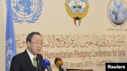 Пан Ґі Мун на прес-конференції після першого дня зустрічі в Кувейті, 30 січня 2013 року