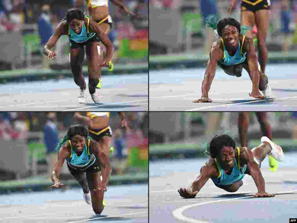 ورزشکار زن باهامایی برای زودتر رد شدن از خط پایان خودش را پرت میکند.