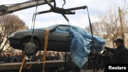 The car belonging to Iranian nuclear scientist Mostafa Ahmadi Roshan, who was assassinated in Tehran on January 11.