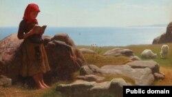 Антон Дорп, «Летні краявід, пастушка чытае, авечкі пасуцца» (1892)