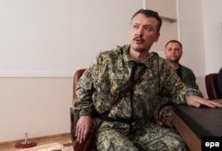 Igor Girkin, alias Igor Strelkov, la o conferință de presă la Donețk în septembrie 2014