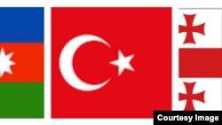 Azərbaycan, Türkiyə və Gürcüstan bayraqlarıı