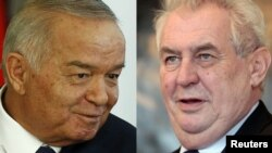A combo photo shows Czech President Milos Zeman (R) and Uzbek President Islam Karimov