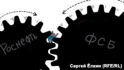 Rosneft ----> Aleksei Ulyukayev <--- FSB (RFE/RL Russian Service)