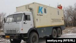 Экологиялық мониторинг жасайтын жылжымалы станция. Березовка, 4 желтоқсан 2014 жыл.