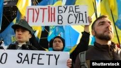 Під час протестної акції в Києві, 8 грудня 2019 року