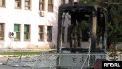 Sarajevo - zgrada vlade u četvrtak ujutro, dan nakon nereda na protestu pripadnika boračkih organizacija, foto: Zvjezdan Živković