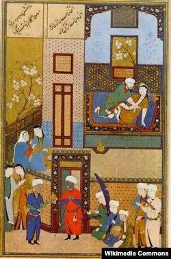 برگی از دستنوشته منظومه عاشقانه مهر و مشتری، نوشته محمد عصار تبریزی.