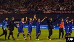 Хорватські футболісти святкують перемогу, 22 березня 2013 року