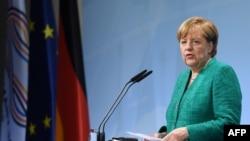 Ангела Меркель даёт итоговую пресс-конференцию. Гамбург, 8 июля 2017 года.