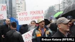 Protest korisnika kredita u švicarskim francima u Banjoj Luci, arhivska fotografija