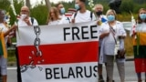 Medininkai, Lithuania - People form a human chain to show support to protesters in Belarus