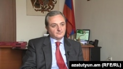 Armenia -- Deputy Foreign Minister Zohrab Mnatsakanian is interviewed by RFE/RL in Yerevan, 13Apr2012.