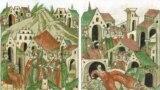 Кримські Гераї Айдар і Нур-Девлет із сином Бір-Девлетом прибувають на службу до московського князя (ліворуч), Бір-Девлет гине в Москві від руки свого слуги (праворуч). Мініатюри XVI ст.