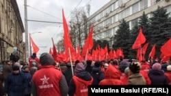 Protestul socialiștilor înaintea alegerilor din 24 februarie