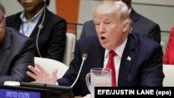 Президент США Дональд Трамп в Организации Объединенных Наций. Нью-Йорк, 18 сентября 2017 года.