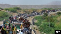 Civilians fleeing North Waziristan.