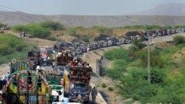 Civilians fleeing North Waziristan.
