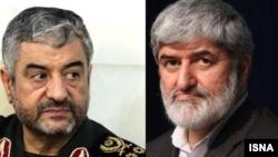 Iran's Revolutionary Guard commander Mohammad Ali Jafari (left) and Ali Motahari, a member of Iran's Parliament