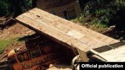 Базар-Коргон районундагы селден улам бузулган көпүрө