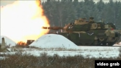 U.S. tanks take part in military drills in Poland in January.