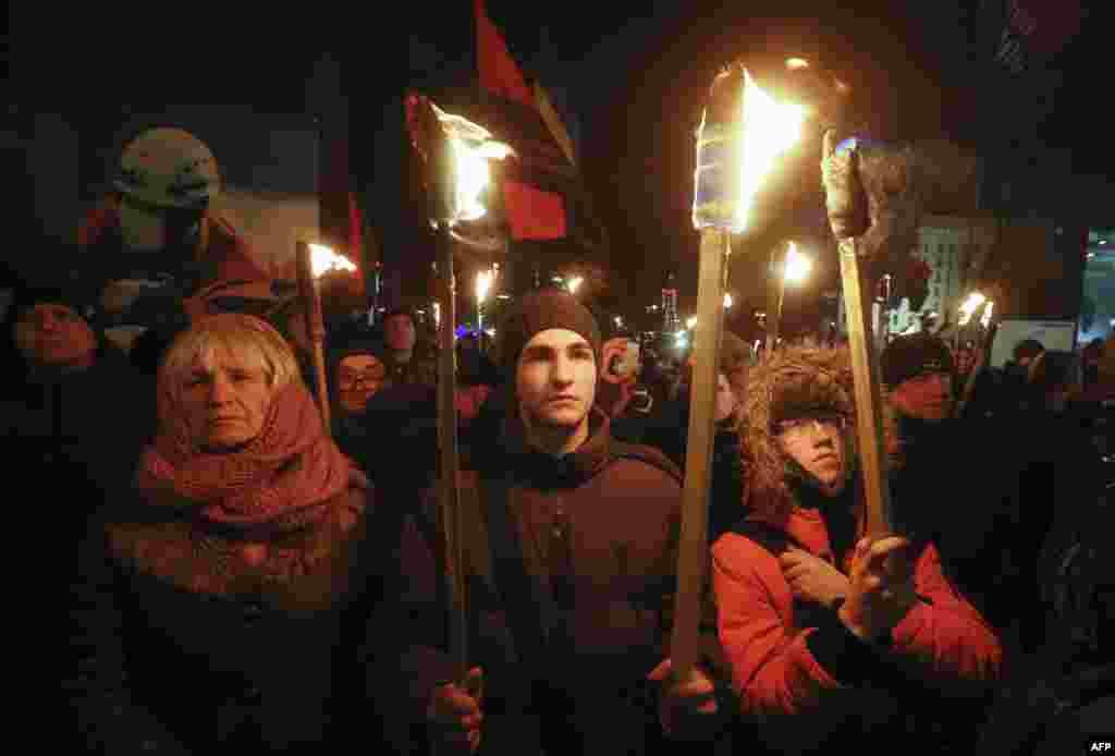 Смолоскипна хода з нагоди 110-ї річниці з дня народження Степана Бандери у Києві, 1 січня 2019 року