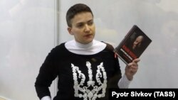 Nadia Savchenko attends a court hearing in Kyiv on March 29