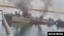 شناور کنارک پس از انفجار در روز یکشنبه ۲۱ اردیبهشتماه در دریای عمان