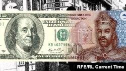 АҚШ доллары мен Тәжікстан сомониі суреттерінен коллаж.