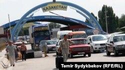 Пункт пропуска на границе Казахстана с Кыргызстаном в Жамбылской области.