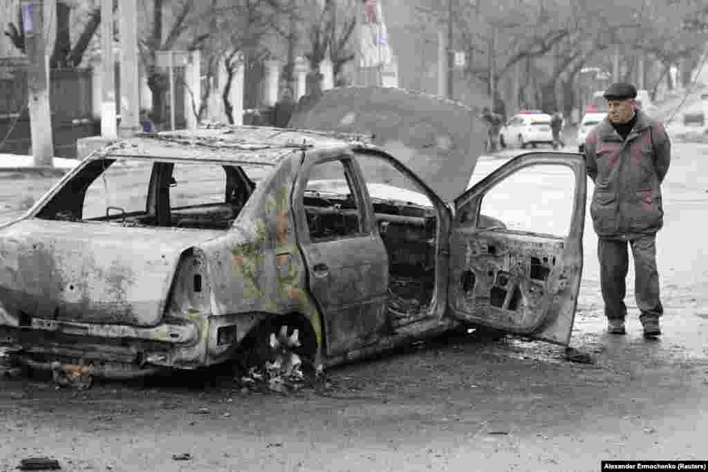 Обстрел остановки автобуса в Донецке 22 января 2015 г.