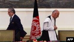 محمد اشرف غنی رئیس جمهور افغانستان و عبدالله عبدالله رئیس اجرائیه حکومت وحدت ملی افغانستان.