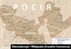 Мапа слобідських українських полків у 1764 році в межах сучасного російсько-українського кордону, який позначений білим кольором