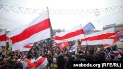 Около тысячи человек приняли участие в акции против «углубления интеграции» Беларуси с Россией. Минск, 7 декабря 2019 года
