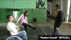 Tajikistan, Dushanbe city, Ayud Odinaev and Firuzai Abdulvali during dance exercise,18October2016