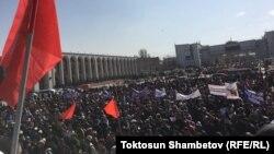 Митинг в поддержку Садыра Жапарова. 2 марта 2020 года.
