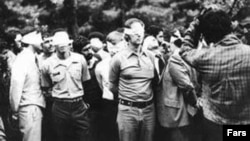 American hostages in Iran are shown during the seizure of the U.S. Embassy by a group of Islamist students.