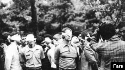American hostages in Iran during seizure of the US embassy by a group of the islamist students . UNDATED