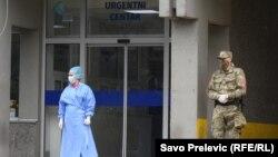 Prizor ispred Kliničkog centra u Podgorici, 27. mart
