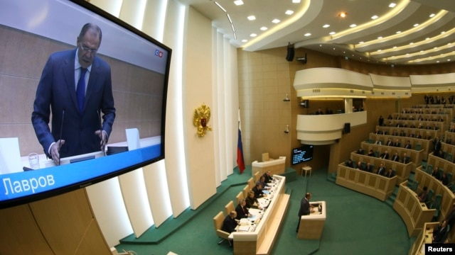 Russian Foreign Minister Sergei Lavrov addressed members of the Federation Council, Russia's upper house of parliament, ahead of their ratification in Moscow on March 21 of the annexation of the Ukraine's republic of Crimea.