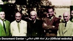 از راست: عبدالقدیر آزاد، حسین مکی، محمد مصدق، ابوالحسن حائریزاده و مظفر بقایی