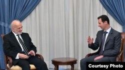 الرئيس السوري بشار الأسد مستقبلاً وزير الخارجية العراقي ابراهيم الجعفري