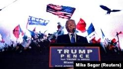 Кандидат в президенты США от Республиканской партии Дональд Трамп выступает перед сторонниками в Майами. 16 сентяря 2016 года.