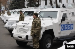 A November 13 ceremony to hand over armored vehicles for the OSCE to use in its monitoring mission