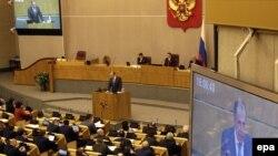 Serghei Lavrov adresîndu-se astăzi legislatorilor ruși