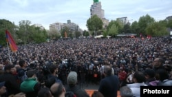 Thousands of protesters in the square in central Yerevan.