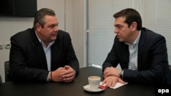 Syriza leader Alexis Tsipras (right) has struck a coalition deal with the Independent Greeks party led by Panos Kammenos (right).
