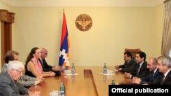 Nagorno-Karabakh - French parliamentarians (L) meet with Karabakh President Bako Sahakian, 23Aug2011.